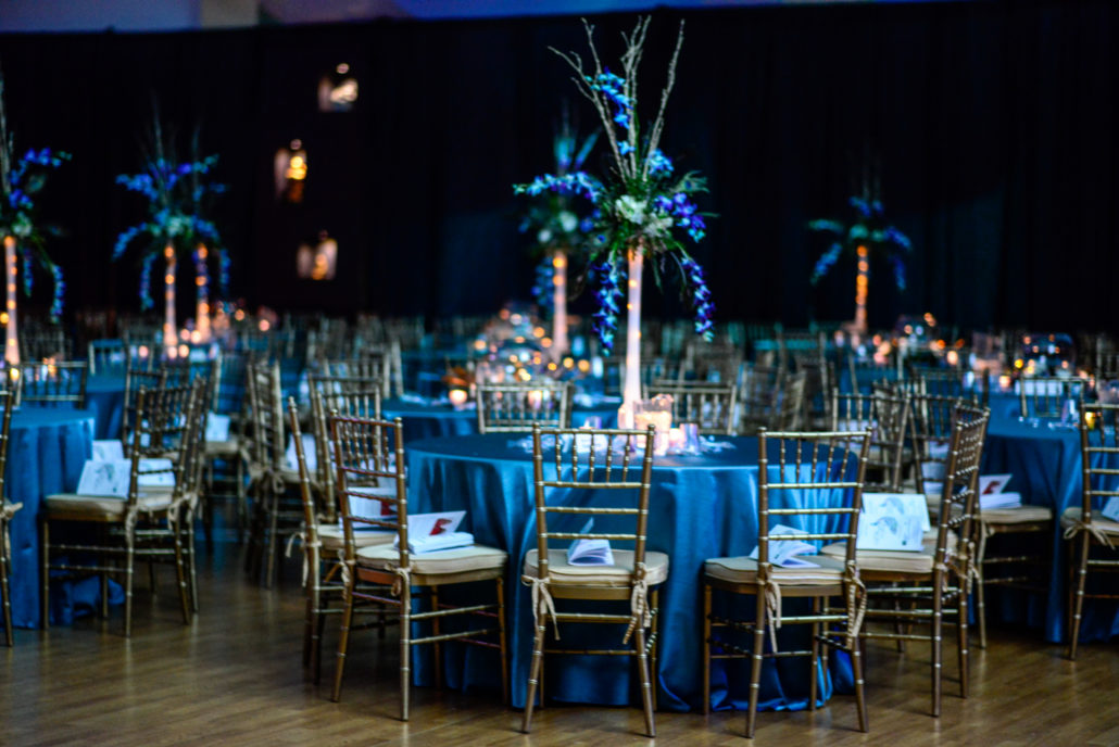 Ornate blue tablescapes and decorated chairs for 2015 Midwinter Ball A Passage To India