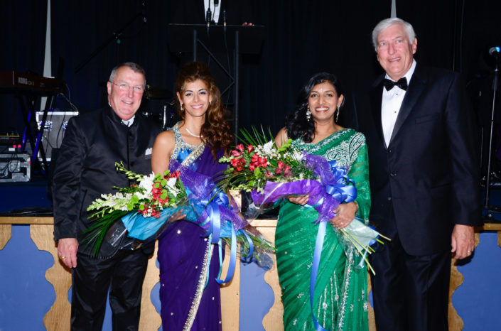 Jim Pfeiffer, president and CEO of Self Regional Healthcare; Megha Lal, Dr. Priya Kumar, MWB co-chairs of Midwinter Ball 2015; Len Bornemann, chairman of the Hospital Board of Trustees