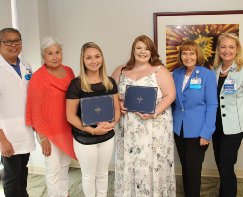 Members of the Charlotte Blackwell Memorial Nursing Scholarship committees pose with 2018 scholarship recipients. Pictured from left: Dr. John Paguntalan, Kaye Brock, Alexis Kaitlyn Ricard, Cynthia Naomi Gatchell, Linda Russell-Vice President and Chief Nursing Officer, and Sharon Walb-Assistant Vice President Director of Nursing.