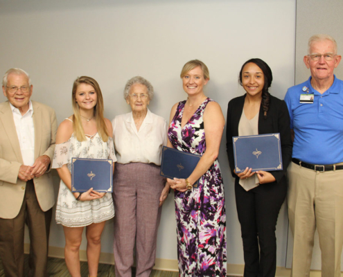 Members of the Mary Ella Ruff Nursing Scholarship committee pose with 2018 scholarship recipients. Pictured from left: Dr. Travis Stevenson, Kimberly Jessica Albert, Mary Ella Ruff, Allison Whitman Sullivan, Brianna Lashae Haddon, and Dr. John Eichelberger.