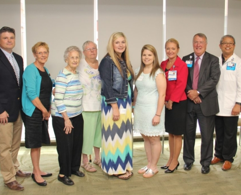 Members of the Mary Ella Ruff and Charlotte Blackwell Memorial Nursing Scholarship committees pose with 2017 scholarship recipients. Pictured from left: Courtney Furman-Foundation Board Chair, Ellen Rhodes-NP, Mary Ella Ruff, Faye Reighley, Amelia Pressley, Amanda Kelly, Sharon Walb-Director of Patient Care Services, Jim Pfeiffer-President and CEO, and Dr. John Paguntalan.