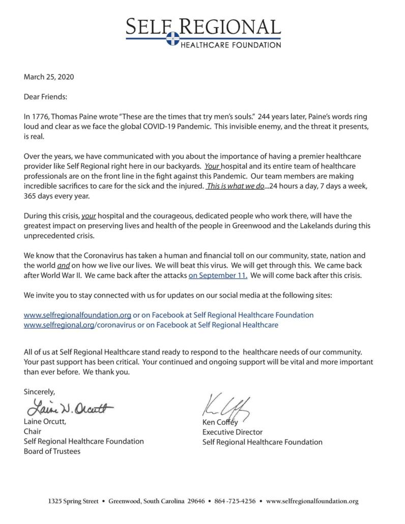 Self Regional Healthcare Foundation letter
